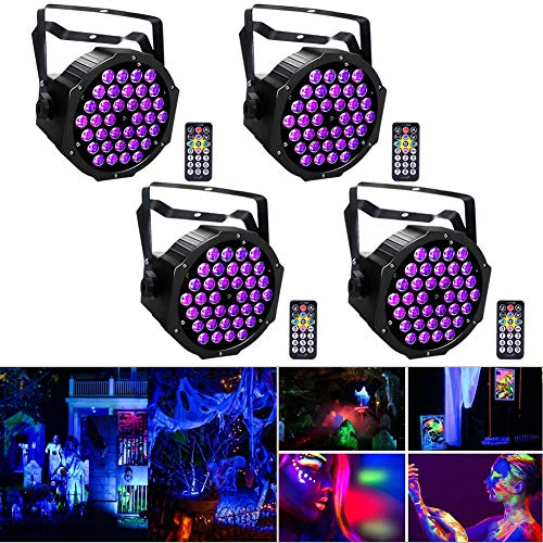 (4pcs Black Lights with Remote, U`King 36 x 2W UV LED Blacklight Spotlight Glow in The Dark Party Supplies by DMX for Stage Lighting)