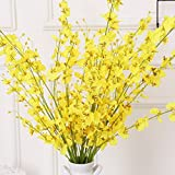 Pannow 5 Folks Artificial Buttterfly Orchids Blossom Branch Fake Silk Flower Tree Home Decor Yellow