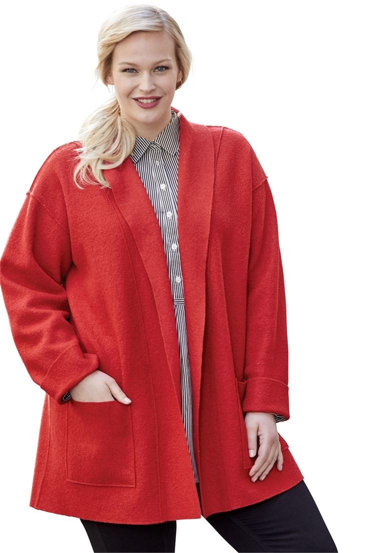 Jessica London Women's Plus Size Boiled Wool Shawl Collar Jacket Sea Blue,18/20