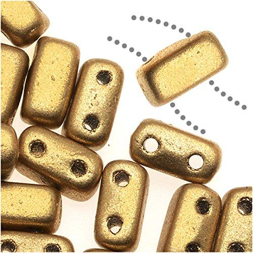 Glass Rectangle Beads (CzechMates Glass 2-Hole Rectangle Brick Beads 6x3mm - Matte Metallic Flax /1 Str)