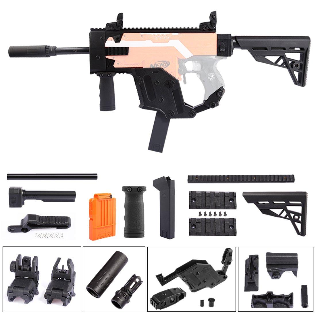 BGoldK Worker UpGröße Aussieht Mod Vector Kit + Schulterstütze für Nerf Stryfe Schwarz25cm