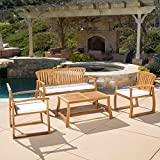 Best Selling Home Decor Furniture Leah Wood 4 Piece Patio Conversation Set with Cushion