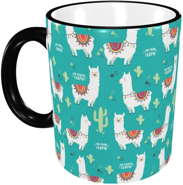 No Prob-Llama Coffee Mugs,Large Handles Cup For Home And Office Gift For Women/Men/Kids Funny Gift