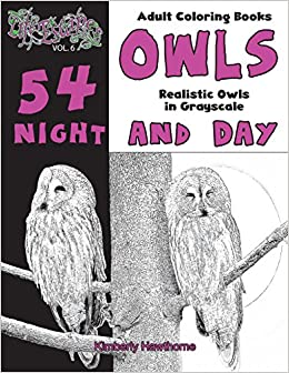 adult coloring books owls night and day 54 realistic owls in grayscale life escapes adult coloring books series