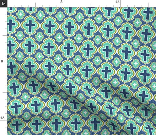 Spoonflower Cross Fabric - Christian Bible Church Hymn Evangelical Religious by Rick Rack Scissors Studio Printed on Modern Jersey Fabric by The Yard (Religious Jerseys)
