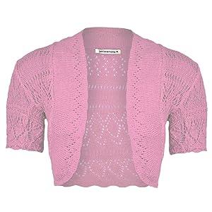 4e164a1000b6e Janisramone Girls Kids Short Sleeve New Crochet Knitted Bolero Shrug Ladies  Open Cardigan Crop Top