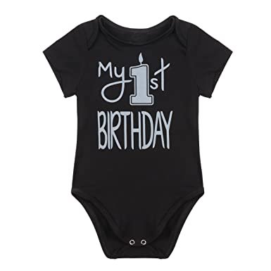 FEESHOW Infant Baby Boys My 1st Birthday Outfit Party Fancy Cotton Romper Bodysuit Black 12 Months