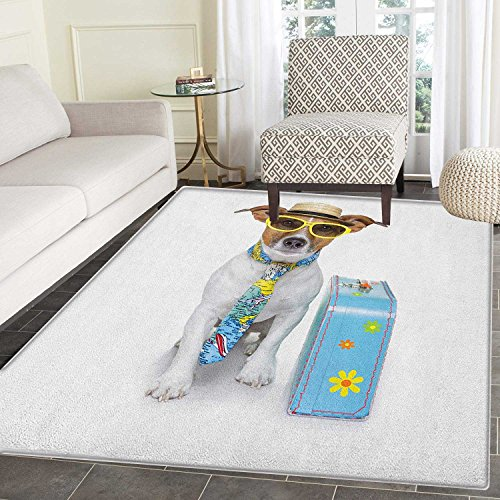 Dog Anti-Skid Area Rug Traveler Funny Dog Dressed as a Tourist with Hat Glasses Necktie and a Floral Suitcase Door Mat Increase 4'x5' (Glass Door Floral Case)