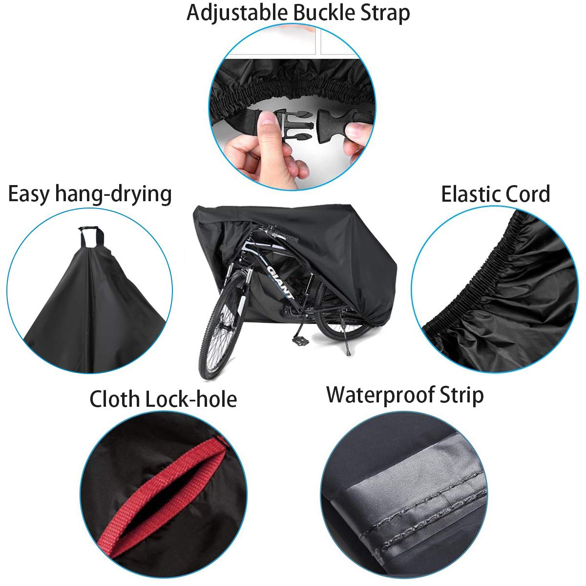 Waterproof Bike Cover 29 Inch Heavy Duty 210D Oxford Bicycle Cover with Double stitching & Heat Sealed Seams, Protection from UV Rain Snow Dust for Mountain Road Electric Bike Hybrid Outdoor Storage by Anglink (Image #7)