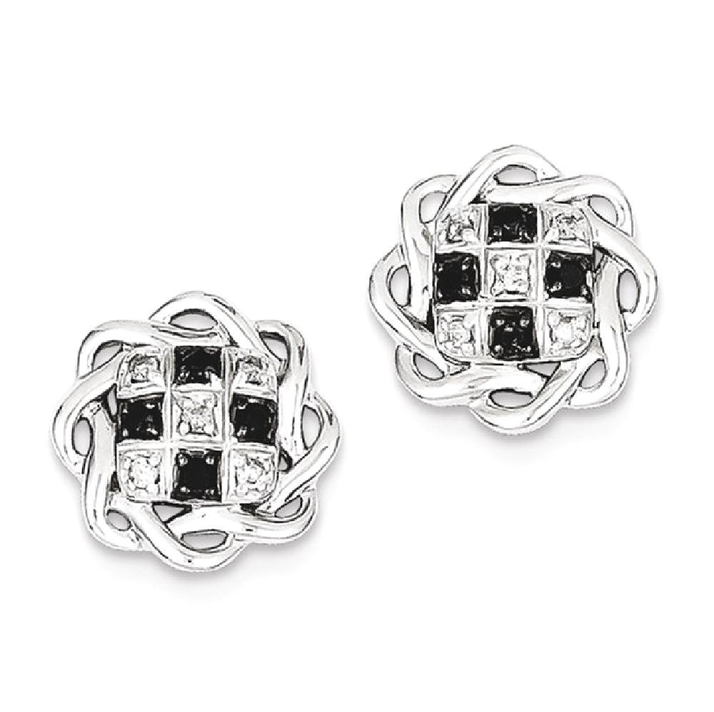 ICE CARATS 925 Sterling Silver Black White Diamond Post Stud Ball Button Earrings Fine Jewelry Gift Set For Women Heart