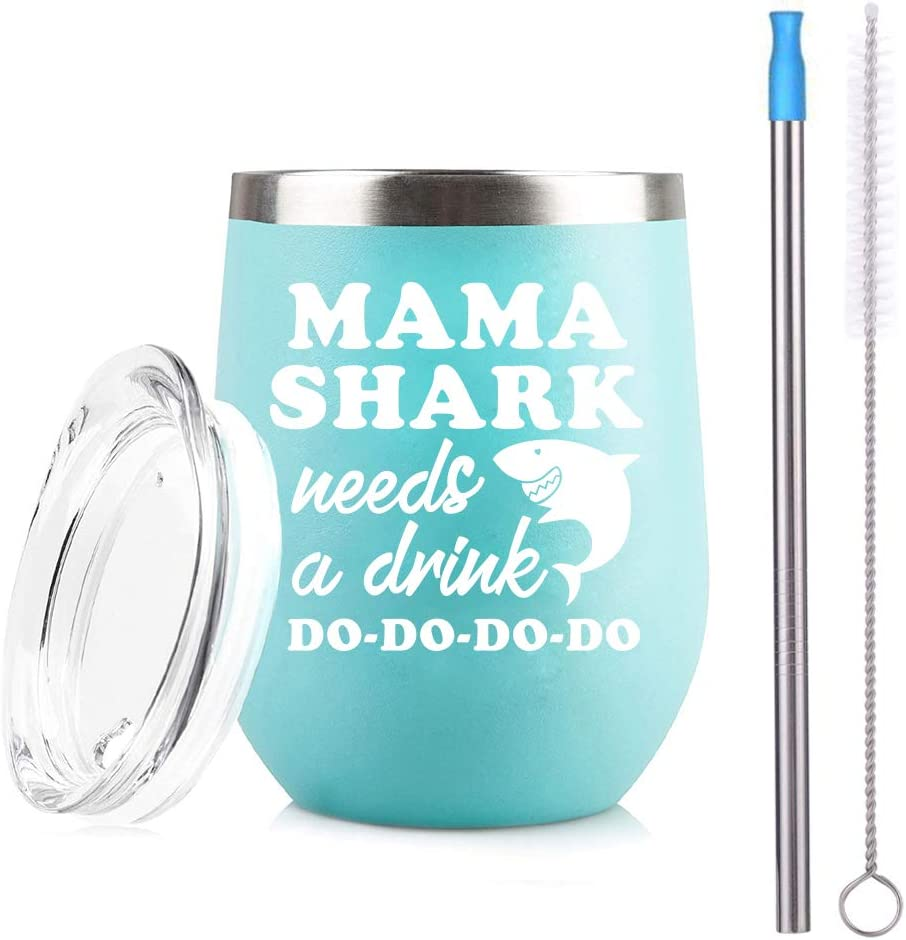 Mama Sharks Needs a Drink 12 oz Stemless Wine Tumbler Wine Tumblers Wine Gifts for Women Ladies Gifts With Lid and Silicone Straw (Blue)
