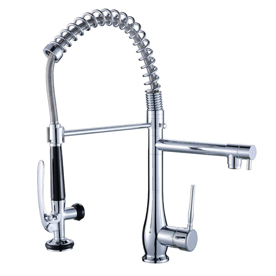 FLG Spring Single Handle Pull Down Kitchen Sink Faucet with Sprayer, Commercial Pre Rinse Faucet, Chrome