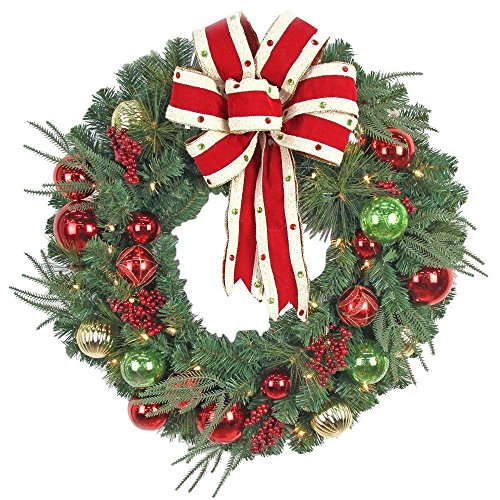 Jolly Christmas Wreath with Ribbons, Baubles and 50 Battery-Operated Warm-White Lights