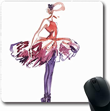 Amazon Com Mousepads Drawing Ballet Watercolor Ballerina Red Elegance Dancer Sketch Dance Pose Design Non Slip Gaming Mouse Pad Rubber Oblong Mat Office Products