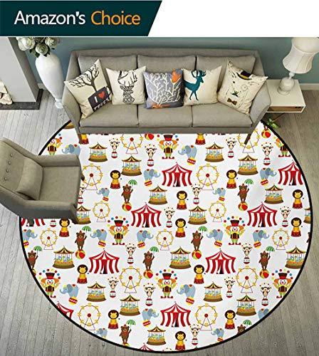 RUGSMAT Circus Super Soft Circle Rugs for Girls,Circus Elephant Bear Monkey Animals Merry Go Round Magic Classic Celebration Print Baby Room Decor Round Carpets,Diameter-55 Inch Multicolor (Monkey Merry Gym)