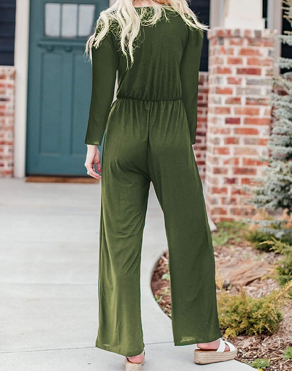 Mfasica Women Button Wide Leg Long Sleeve Rompers V-Neck Jumpsuit