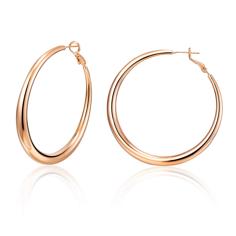 HUIMEI 14K Gold Plated Sterling Silver Post Hoop Earrings