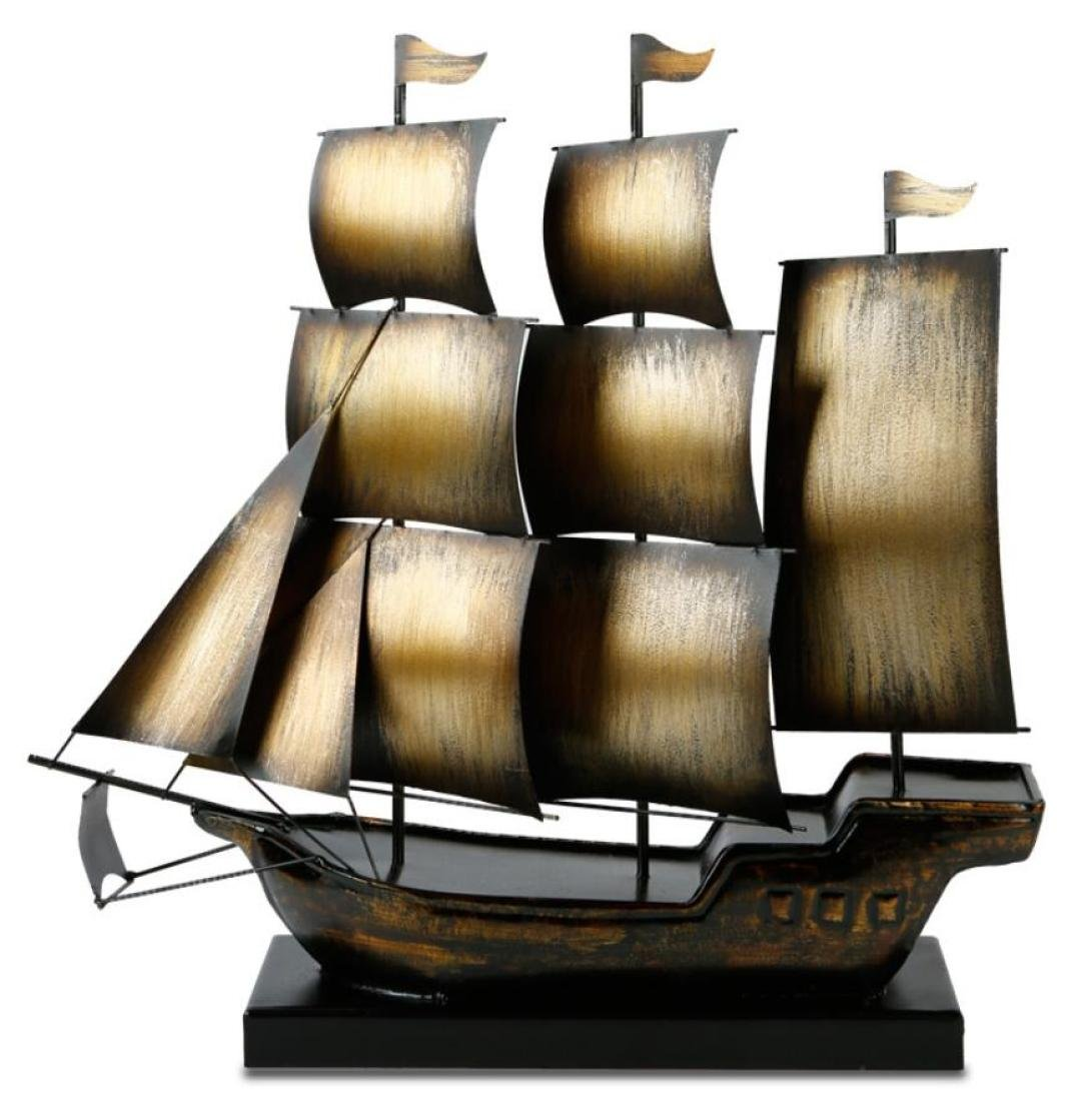GL&G Creative European style Home Décor Accents Retro Iron Window Ornaments Gold Lucky sailboat Collectible Figurines Collectible Vehicles