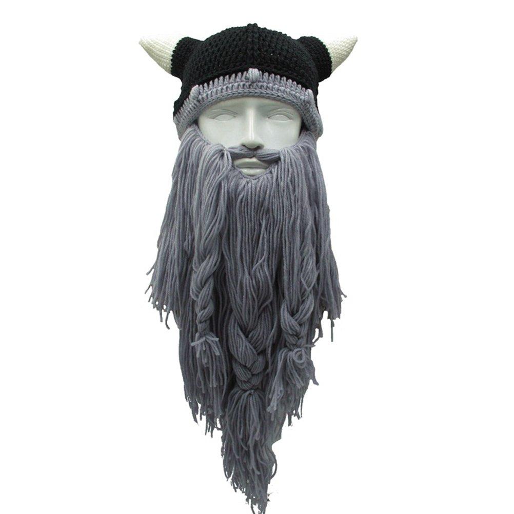 YeahiBaby Casque Viking en Laine Fait /à la Main et Barbu Costume de Pirate Viking dhalloween