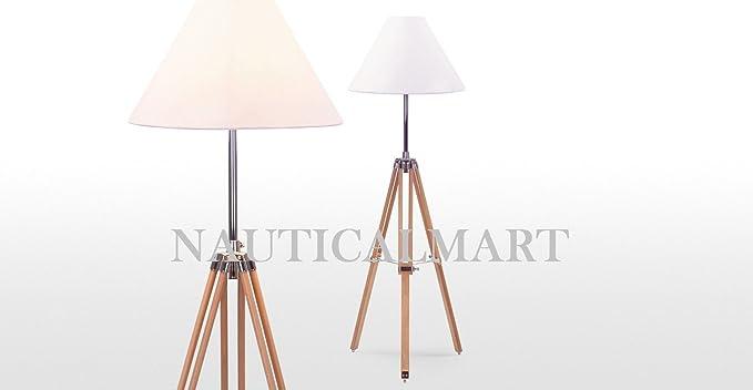 Navy tripod floor lamp in natural wood set of 2 amazon navy tripod floor lamp in natural wood set of 2 aloadofball Images