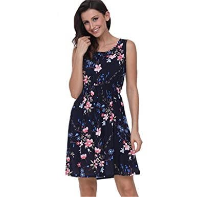 d46a01976bcc WXQ Floral Print Casual Summer Dress 100% Cotton Short Shift Dress Boho  Bohemian Dress at Amazon Women s Clothing store