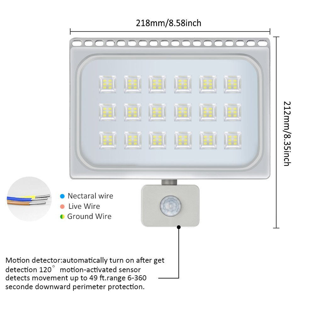 100W Blanco Frío Foco LED Sensor Movimiento Reflector Impermeable SMD IP67 Lámpara PIR Seguridad Lámpara LED 220V LED Exterior (100W*10): Amazon.es: ...