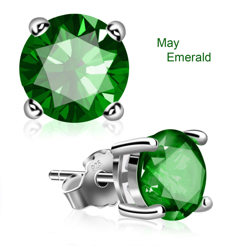 UHIBROS Sterling Silver Birthstone Stud Earrings Round Cubic Zirconia Diamond May