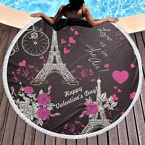 KSIYAFw Thick Round Beach Towel Blanket with Tassels, Wallpaper Pattern with Eifel Tower Picnic Table Cover, Round Tapestry, Round Beach Towels, Tablecloth