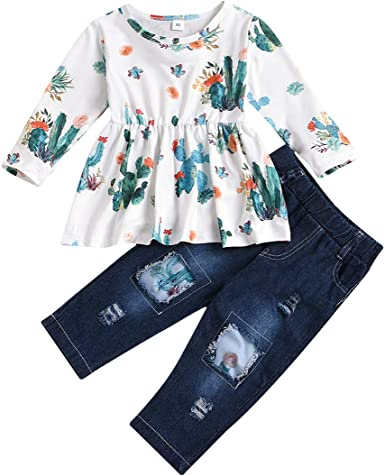 Toddler Baby Girl Outfits Long Sleeve Linen Shirt Cute Ripped Jeans Kids Denim Pants Set Winter Clothes