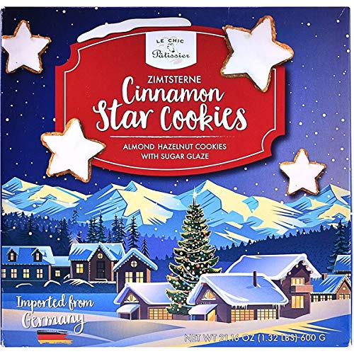 Le Chic Patissier Zimtsterne Cinnamon Star German Cookies Almond Hazelnut Cookies with Sugar Glaze - 21.16 oz.