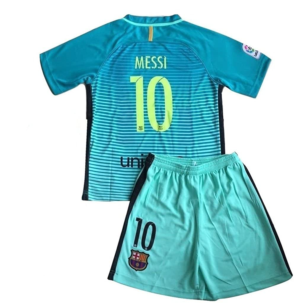 3610f6ab7de Amazon.com: Iqrrn Messi #10 Barcelona 3rd Jersey & Shorts for Kids and Youth  Green: Clothing