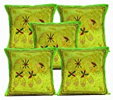 5Pcs-100Pcs Amazing India Unique Jari Embroidered Work Green Home Decor Cushion Covers Wholesale Lot