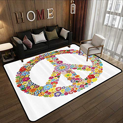 (All Weather mats,Groovy Decorations,Floral Peace Sign Summer Spring Blooms Love Happiness Themed Illustration Print,Multi 71