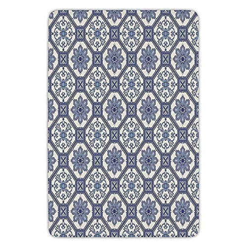 Bathroom Bath Rug Kitchen Floor Mat Carpet,Arabian,Arabesque Floral Oriental Persian Afghan Medieval Baroque Tiles Shapes Tribal Artsy,Blue White,Flannel Microfiber Non-Slip Soft Absorbent