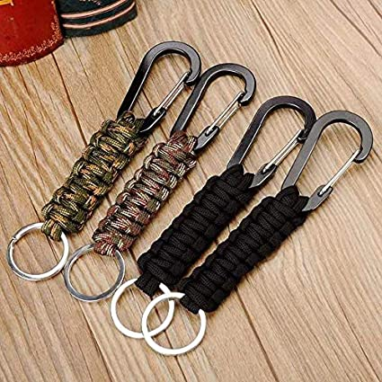 Amazon.com: Llavero con mosquetón y cordón trenzado militar ...