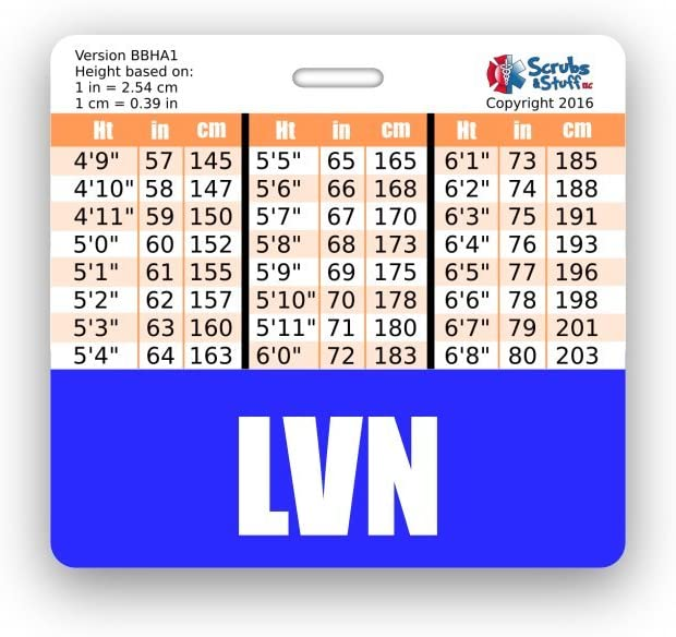 Blue LVN Badge Buddy Horizontal w//Height /& Weight Conversion Charts