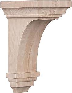"""Ekena Millwork CORW04X04X08JERW Wood Corbel, 4""""W x 4 3/4""""D x 8""""H, Rubberwood"""