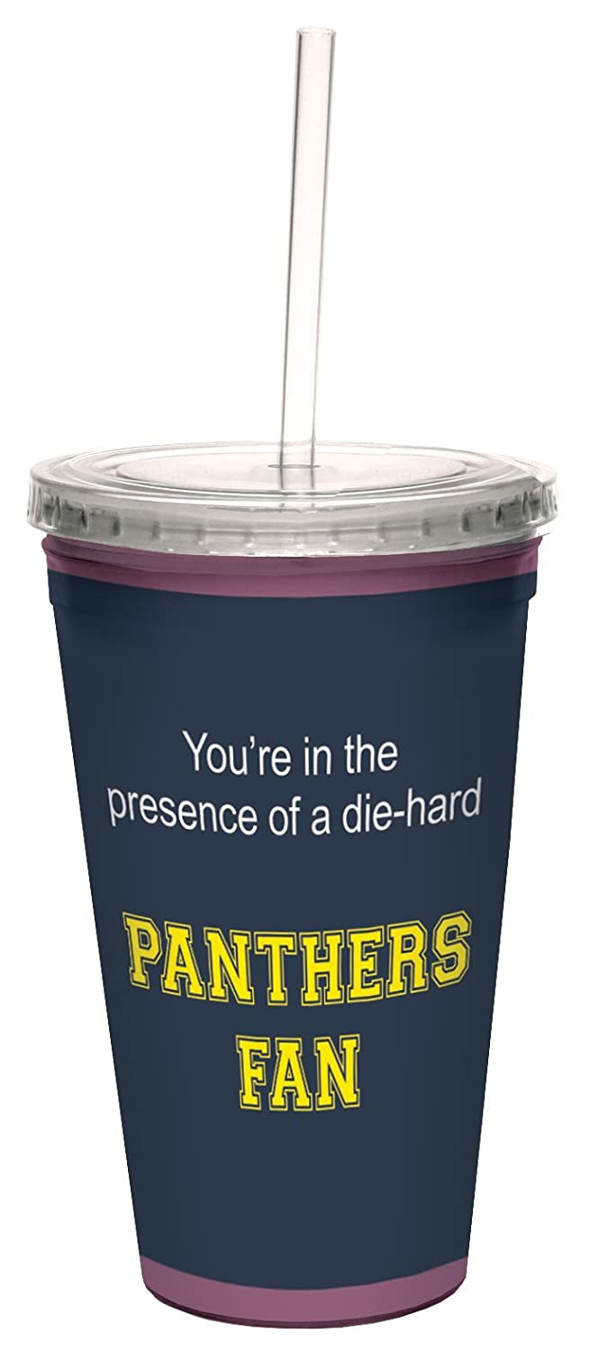 16-Ounce Tree-Free Greetings cc34849 Panthers College Basketball Artful Traveler Double-Walled Cool Cup with Reusable Straw