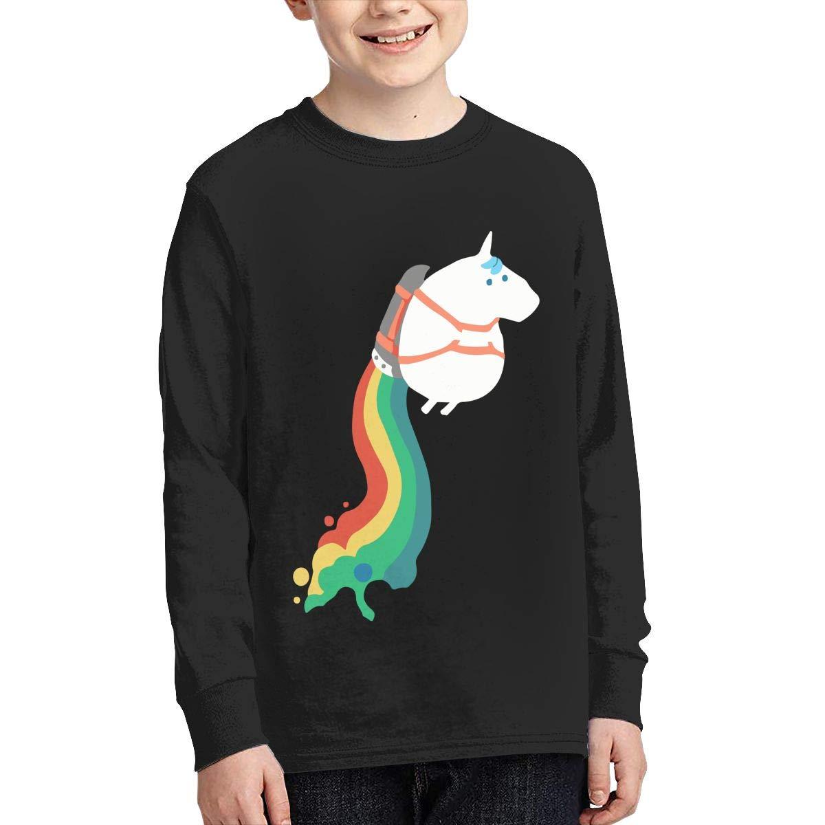 Teenagers Teen Boy Funny Unicorn Fart Rainbow Cloud Printed Long Sleeve 100/% Cotton Clothes