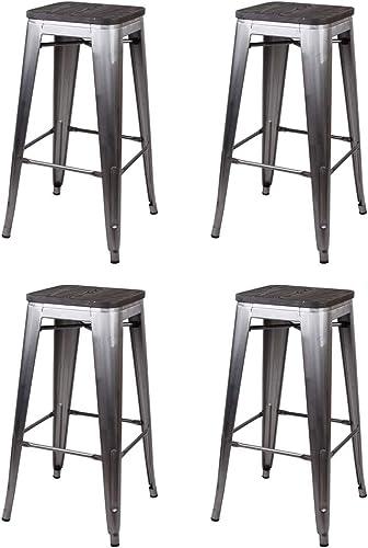 GIA 30-Inch Backless Bar Height Stool, 4-Pack, Gunmetal Dark Wood