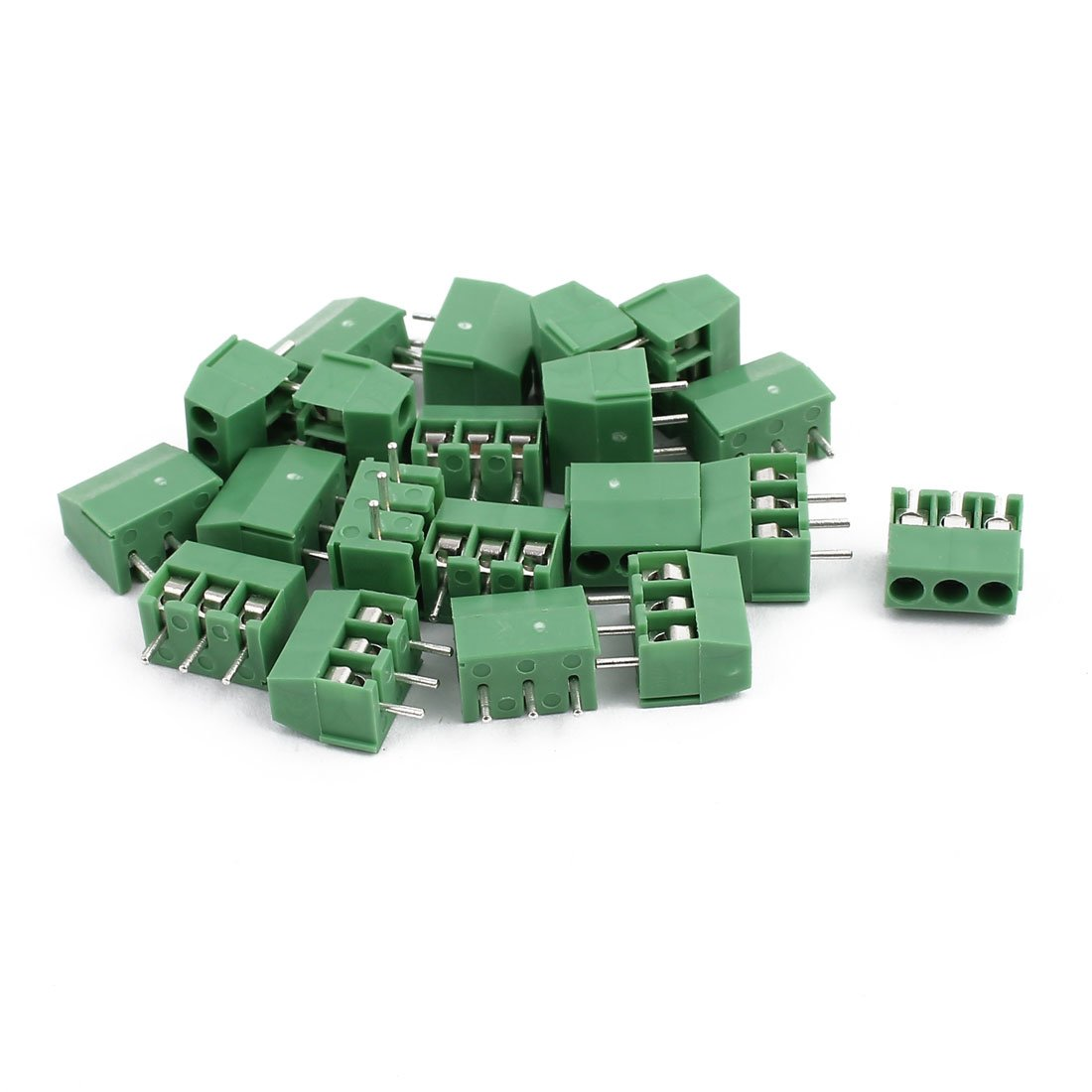 sourcing map 20Pcs ZB350 AC300V 10A 3P vis Pas 3.5mm Borniers vert Connect PCB