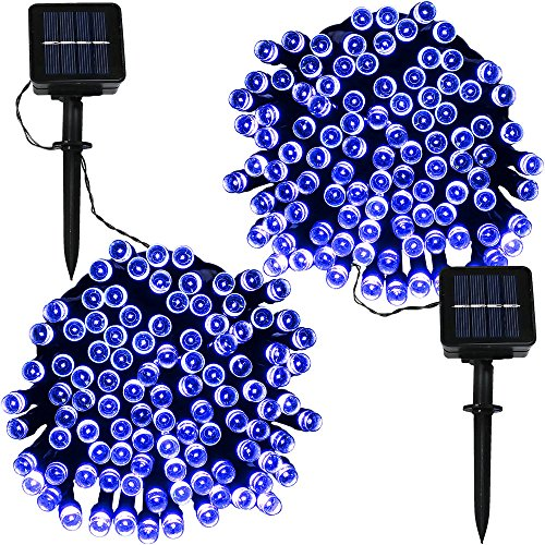 100 Blue Solar Powered Led Outdoor String Fairy Lights in US - 5