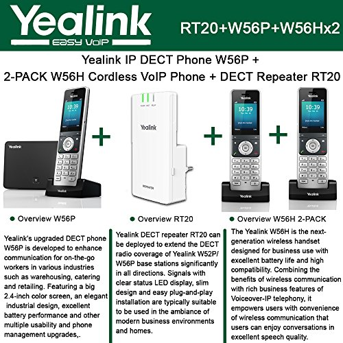 Dect Telephone Repeater (Yealink W56P IP DECT Phone + 2PACK W56H Cordless VoIP Phone + DECT Repeater RT10)