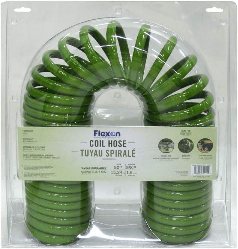 Flexon CH5850 Coil Garden Hose, 50ft, Green