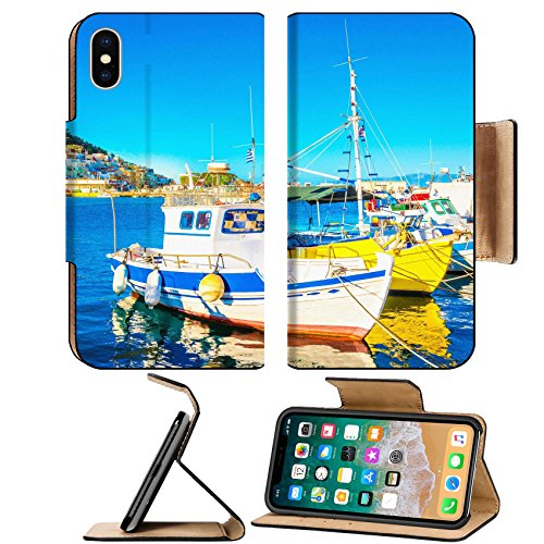 Greek Boats (Luxlady Premium Apple iPhone X Flip Pu Leather Wallet Case IMAGE ID: 40514290 Small colorful boats in Greek port on Island Greece)