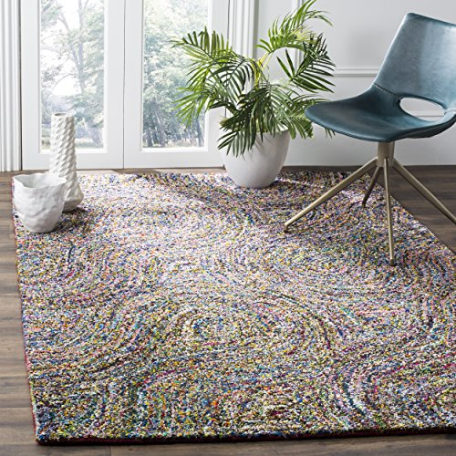 Safavieh Nantucket Collection NAN437A Handmade Abstract Burst Multicolored Cotton Area Rug (6' x - Rug Abstract Expression Area