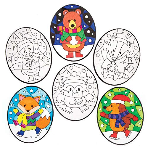(Baker Ross Winter Woodland Colour - in Window Decorations (Pack of 12) for Kids Christmas Crafts and)