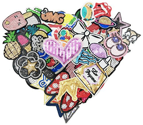 WZT 50pcs/lot Assorted Iron-on or Sew-on Sequin Embroidered Patch Motif Applique Set]()