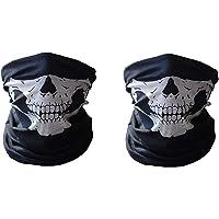 Electomania Men's Seamless Dustproof Windshield Elastic Skull Face Mask (Black) - Set of 2