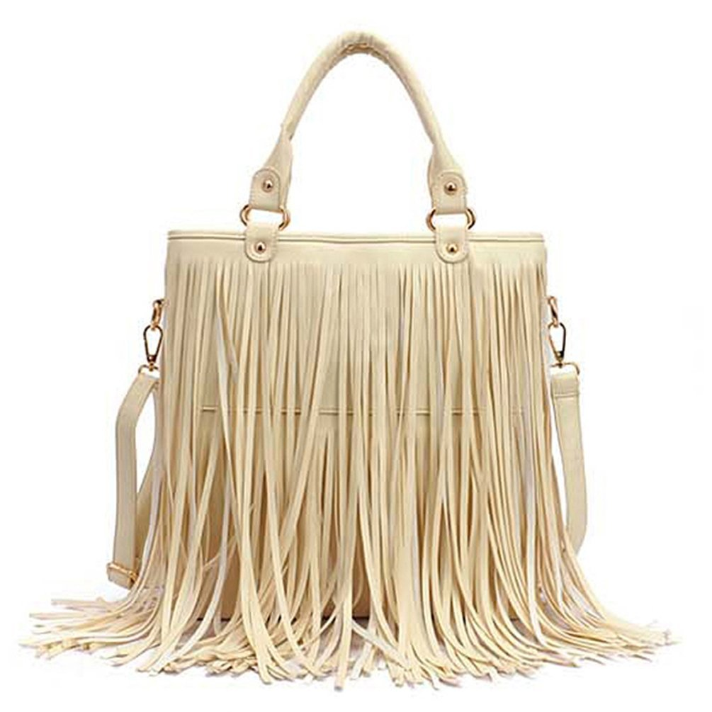 Caszel Women's Large Capacity Waterproof PU Leather Fringe Tassel Shoulder Bag Casual Hobo Handbag Crossbody Bag Beige